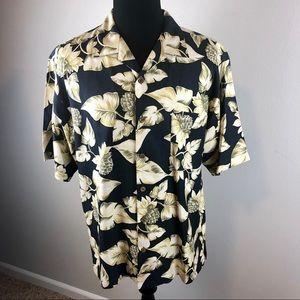 [Tommy Bahama] Hawaiian Silk Shirt Navy Blue L